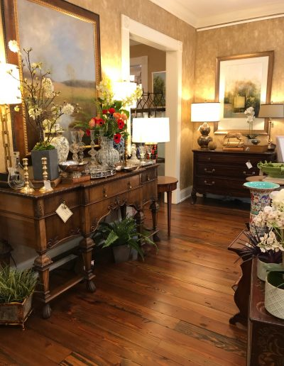 Antique Buffet and Currey & Co. Lamps